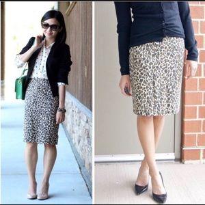 J.Crew Leopard Print Pencil Skirt Size 0